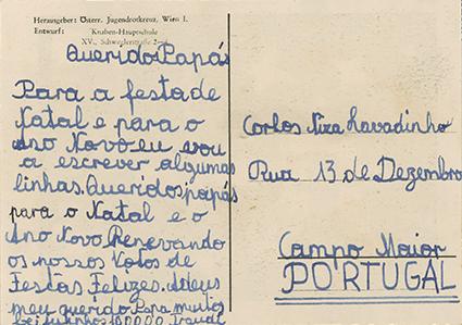 Postal de Waltraud Hoffinger para o sr. dr. Lavadinho, pai da família que a acolheu, em Campo Maior